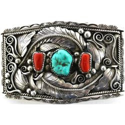Sterling silver and turquoise with red coral belt