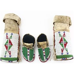 Rare 1880-1890's Childs ceremonial moccasins