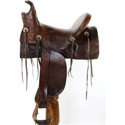 Early slick fork square skirt saddle embossed