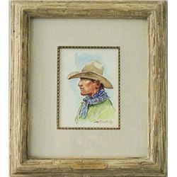 """Ogalala Cow Puncher"" original watercolor by Joe"