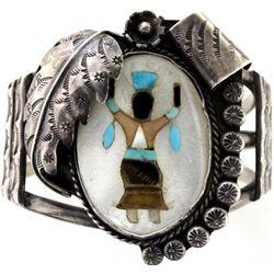 Sterling silver Zuni inlaid bracelet
