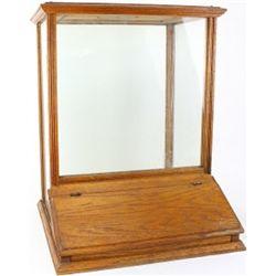 Oak and glass bulk dispenser from early