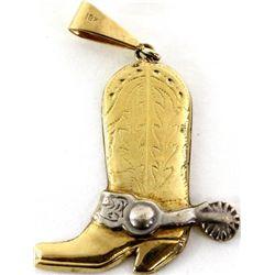 Ed Bohlin 18K and sterling boot pendant