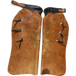 Leather batwing chaps stamped Longhorn