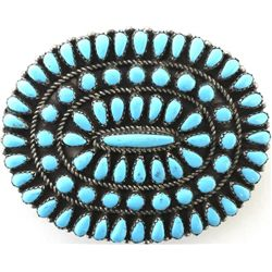 Fine Zuni sterling and petit point belt buckle