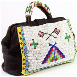 Doctors bag with applied bead panels