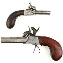 Collection of 2 antique double barrel pistols