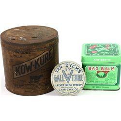 Collection of 3 antique medical tins includes