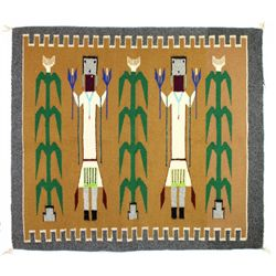 1950's quality 2 figure Yei rug, extremely