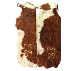 Hair on cow hide leather chaps worn on Montana