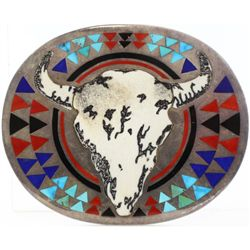 Large heavy sterling belt buckle with buffalo