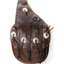 Brown leather US saddle bags decorated with