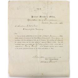 1864 Civil war draft notice for 3 year period