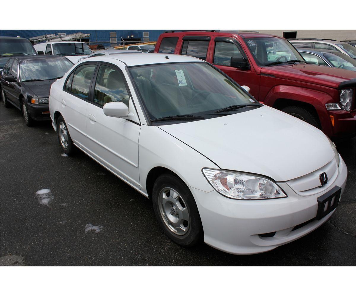 2005 Honda Civic Hybrid 4 Door Sedan White Vin Jhmes966x5s016703