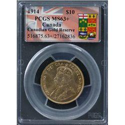 1914 Canada $10 PCGS MS63+