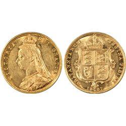 1887-M ½ Sovereign PCGS AU58