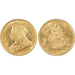 1897-S ½ Sovereign PCGS AU58