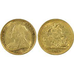 1900-S ½ Sovereign PCGS AU55