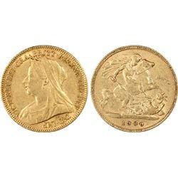 1900-P ½ Sovereign PCGS AU50
