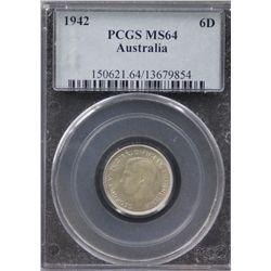 1942 Sixpence PCGS MS64