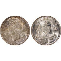 1943 D Sixpence PCGS MS 64
