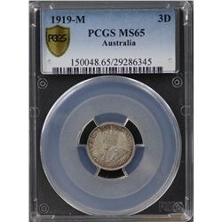 1919-M Threepence PCGS MS65