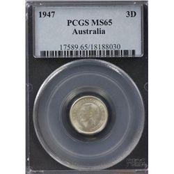 1947 3 Pence PCGS MS65