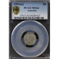 1953(m) Threepence PCGS MS64