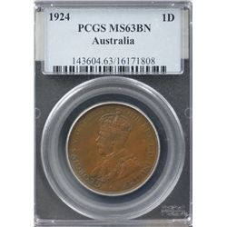1924 Penny PCGS MS 63 Brown