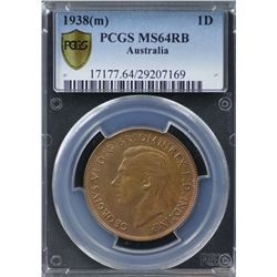 1938(m) Penny PCGS MS64RB