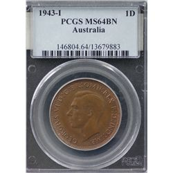 1943 I Penny PCGS MS64 BN
