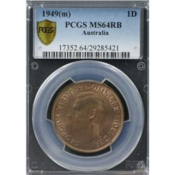 1949(m) Penny PCGS MS64RB