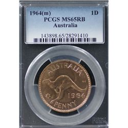 1964(m) Penny PCGS MS65RB