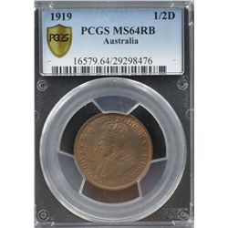 1919 ½ Penny PCGS MS64RB