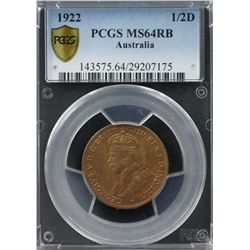 1922 ½ Penny PCGS MS64RB