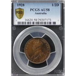 1928 ½ Penny PCGS AU58