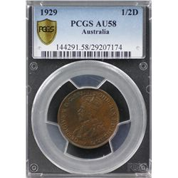 1929 ½ Penny PCGS AU58