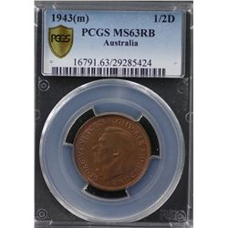 1943(m) ½ Penny PCGS MS63RB