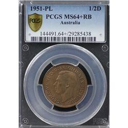 1951-PL ½ Penny PCGS MS64+RB