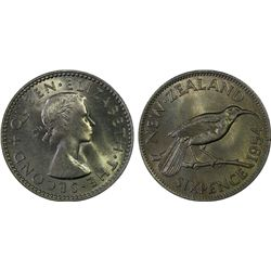 1954 New Zealand Sixpence MS66