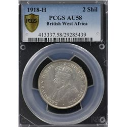 1918-H British West Africa 2 Shilling PCGS AU58