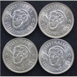 Shillings 1958,1959,1960,1961 BU