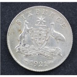 1921 Sixpence Extremely Fine