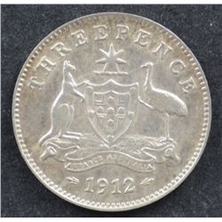 1912 Threepence Extremely Fine or better