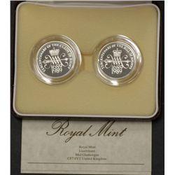 GB Piedfort 1989 2 Pound Pair, in case