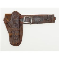 Classic turn-of-the-century tooled leather double  loop holster with combination cartridge/money  be