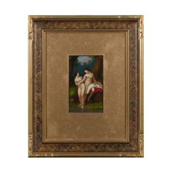 18th  to early 19th century European painting on  tin  showing two nude bathers measuring  approxima