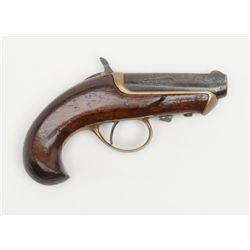 "Williamson single shot derringer, .41 cal., 2-1/2""  barrel, blue finish, brass frame and trigger  gu"