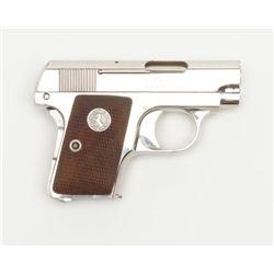 "Colt Model 1908 semi-auto pistol, .25 cal., 2""  barrel, nickel finish, checkered wood medallion  gri"