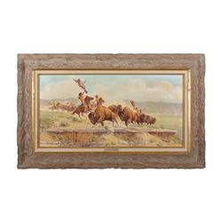 """Framed painting by Paul Abram, Jr., Scottsdale, AZ  entitled """"On The Ledges"""" showing Indians  stampe"""